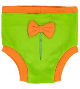 Majteczki na cieczkę - zielone z pomarańczową kokardką