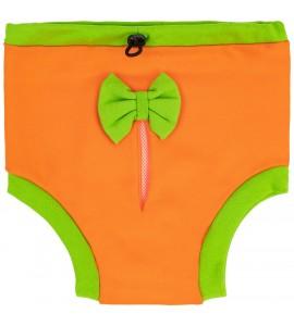Majteczki na cieczkę - pomarańczowe z zieloną kokardką