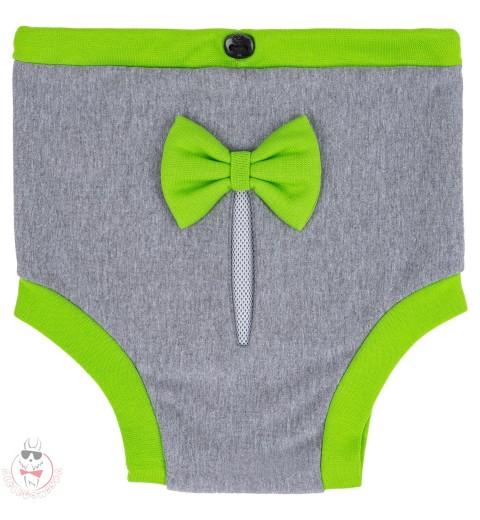 Majteczki na cieczkę - szare z zieloną kokardką