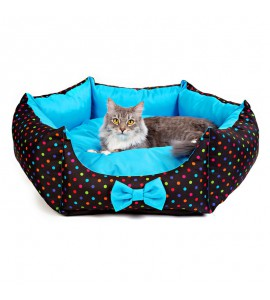 Star-shaped bed with colourful dots (blue)