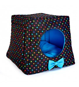 Kennel with colourful dots (blue)