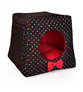 Kennel with colourful dots (red)