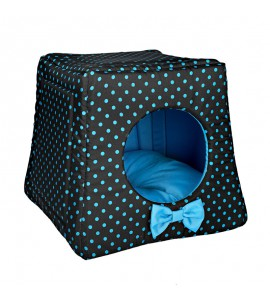 Kennel with blue dots